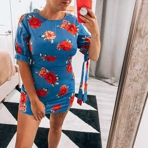 ASOS Fashion Union Blue Floral Bodycon Dress 6 NWT